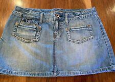 American Eagle Denim Mini Skirt Pockets Distressed Size 10