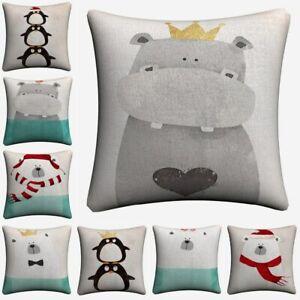 Hippo Polar Bear Pinguin Kids Cartoon Sofa Home Decor Linen Cushion Case Pillow
