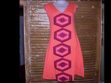 Synergy Organic Clothing Stretch Flared Tank DRESS Sz SM Coral Geometric NWOT