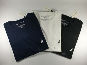 NEW Authentic Nautica Men's Solid Short Sleeve Crewneck TEE Cotton T Shirt SALE
