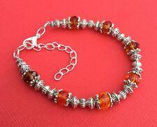 Womens Teens Orange Crystal & Tibetan Silver Handmade Bracelet - Aussie Seller!!