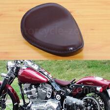 Motorcycle Brown leather SOLO Seat Saddle For Harley Honda Yamaha Custom Bobber