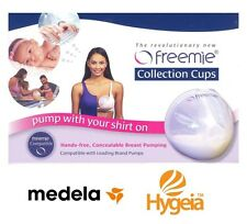 FREEMIE DELUXE COLLECTION CUPS 25 & 28mm for MEDELA HYGEIA PUMP HANDS FREE ~ NEW