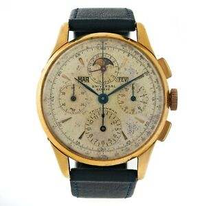 Rare 37mm UNIVERSAL GENEVE Tri-Compax 18k Gold Chronograph Watch, Ref.12552, 40s