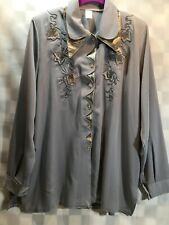 Gray Button Front Embroidered Flower Floral Women's Shirt Size 52