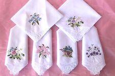 Lace Handkerchiefs LOT SIX Cotton Hankies 6 Appliqued Floral Flower Bouquets NEW