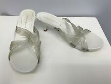 CASADEI SHOES WHITE PLASTIC SILVER TONE METAL NAIL HEADS SIZE 8 FITS A SIZE 9