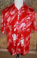 Napili Size Large Vintage Hawaiian Aloha Made in Hawaii Red Floral Shirt (AK)