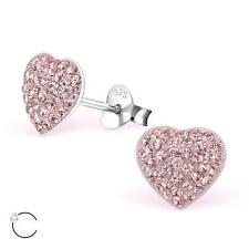 Sterling Silver Swarovski Elements Heart Stud Earrings Vintage Rose