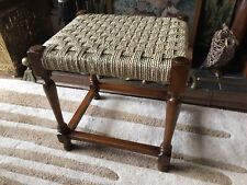 Mid Century Teak Footstool Stool New Woven Seagrass Seat Country Rustic