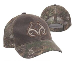 REALTREE Xtra Green Camo MESH Back / Visor w/ANTLERS on Brown Crown Hunting Hat