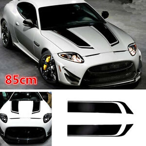 2x Black Universal Car Hood Sports Long Stripe Vinyl Decals Car-Styling Stickers