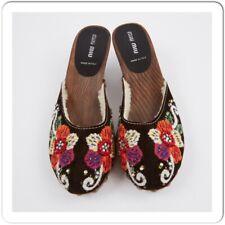 Miu Miu shearling clogs Flowers embroidered top studs, platforms wood sole Sz 37