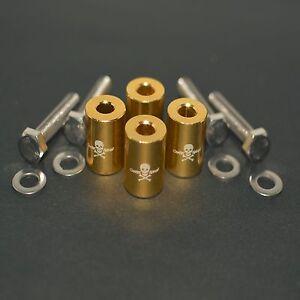 """GOLD 1"""" BILLET HOOD VENT SPACER RISER KITS FOR TURBO/ENGINE/MOTOR SWAP 8MM"""