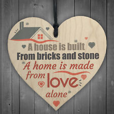 Home Made of Love Wooden Hanging Heart House Warming Friendship Gift Sign