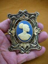 (CA20-43) RARE African American LADY blue ebony ivory CAMEO Pin Pendant JEWELRY