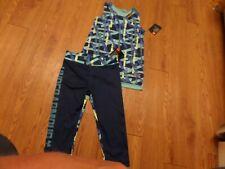 NWT girls' Under Armour heatgear capri leggings/tank set, size 5 blue