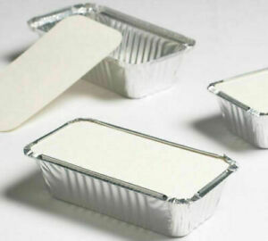 50 x Quality Size 6a Aluminium Foil Containers with Lids Trays Takeaway & Baking