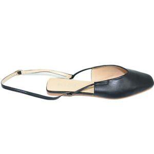 Scarpe donna mules ballerine nere mocassino raso terra tallone scoperto con cint