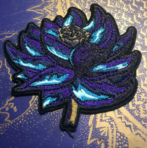 """Black Lotus (MTG Inspired) Iron-on Embroidered Patch (3x3"""")"""