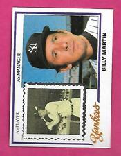 1978 TOPPS BURGER KING # 1 YANKEES BILLY MARTIN  NRMT-MT  CARD (INV# C2931)