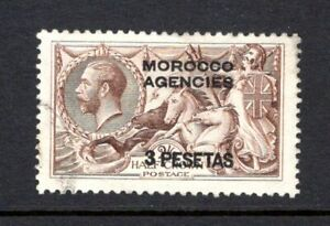 MOROCCO AGENCIES KGV 1914 sg143 SEAHORSE 3P ON 2/6 CHOC BROWN FINE USED CAT £75
