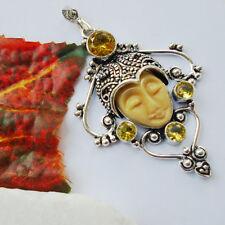 Howlith & Citrinquarz gelb Maske Gesicht Design Anhänger Silber plattiert neu