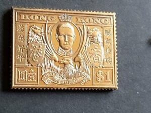 HONG KONG-1946 VICTORY-$1 VALUE-925 STERLING SILVER+GOLD PLATED STAMP INGOT-25g