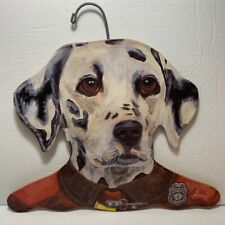 Vtg Stupell Johnston Dalmation Dog FireFighter Wooden Coat Hanger Annie