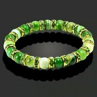 Gorgeous Bracelet Cubic Zirconia Natural Jade Jadeite Stone Yoga Beads UK Seller