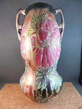 """Large Antique Majolica Vase Double Handle Art Nouveau Pink Green Leaf 12"""""""