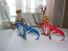 vintage 2007 Papo medieval knights red stag antlers blue rams horns head VGUC