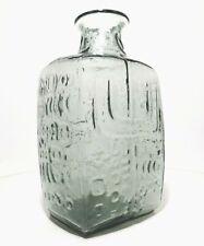 RARE FINNISH MODERNIST VINT SMOKEY ART GLASS VASE, W/EMBOSSED TRIBAL HIEROGLYPHS