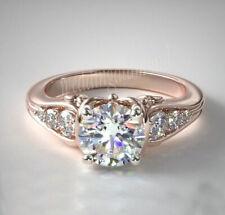 Ring 925 Sterling Silver Rose Finish Near White 1.46 Ct Moissanite Engagement