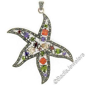 Sterling Silver Multi Gemstone & Marcasite LARGE Starfish Pendant w/ Chain