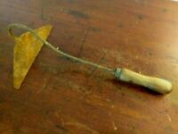 Vintage Wrought Iron Scraping or Skimming Tool with Wooden Handle