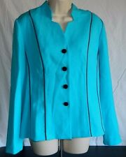 Koret  Light Spring Blue Ladies Jacket Blazer with Black Line Detailing Size 12