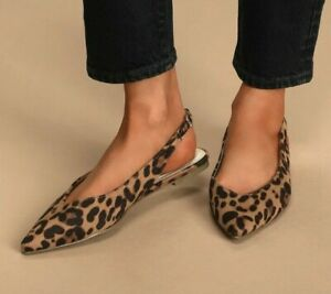 New Lulus Womans Chrystina Leopard Pointed Toe Slingback Flats Sz 8 Vegan NIB