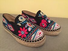 Johnny Was Black Nepentha Embroidery Espadrille Slip On  Shoe EUR 37/6.5 Br New