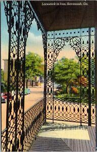 Linen Postcard Iron Lacework in Savannah, Georgia~139162