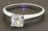 EGL USA Platinum .98CT SI1/G Princess diamond solitaire wedding/engagement ring