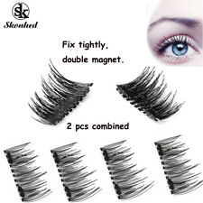 SKONHED 4 Pcs Lashes Triple Magnetic False Eyelashes Full Strips Resuable Lashes