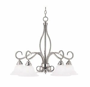 Savoy House KP-SS-101-5-69 Chandelier,White Faux Alabaster Shades, Pewter Finish
