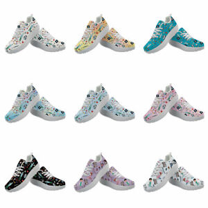 Medical Print Womens High Platform Sport Sneakers Casual Shoes Walking Shoes