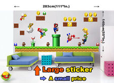 HUGE SUPER MARIO bros Scene REPOSITIONABLE WALL STICKER Luigi Boys Room No. 005