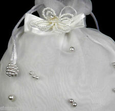 White Purse Handbag w/Pearl flower for girl Communion Bridal ball Formal dress