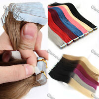 """16-24"""" 20PCS PU Seamless Skin Tape in Weft Remy Human Hair Extensions Straight"""