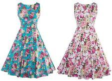 Spring Summer Vintage Retro Floral 1950s Elegant Garden Tea Party Formal Dress