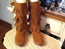 Minnetonka Moccasins Brown Three Fringe Leather Moccasins Mid Calf Boots Sz 9