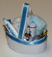 Dollhouse Miniatures, Bath Accessory Basket, In Blue and White